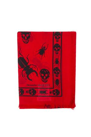 SKULL AND INSECT PRINTED RED SCARF FW 2019 ALEXANDER McQUEEN | 20 | 5749124A33Q6460