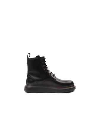 HYBRID BLACK CALF LEATHER LACE-UP BOOTS FW 2019 ALEXANDER McQUEEN   52   586191WHX511000