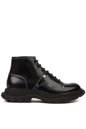 BLACK LEATHER ANKLE BOOTS WITH WHITE SEAMS FW 2019 ALEXANDER McQUEEN | 52 | 586714WHX501000