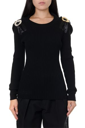 BLACK WOOL JUMPER WITH METAL BROOCH FW 2019 BOTTEGA VENETA | 16 | 588945VKB211000