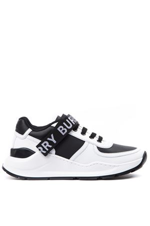 LEATHER AND FABRIC BLACK AND WHITE SNEAKERS WITH LOGO PRINT FW 2019 BURBERRY | 55 | 80115311A1189
