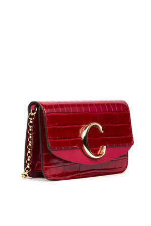 RED LEATHER WITH A CROCODILE EFFECT CHLOÉ C CLUTCH FW 2019 CHLOÉ | 2 | C19SS192A87UNI634