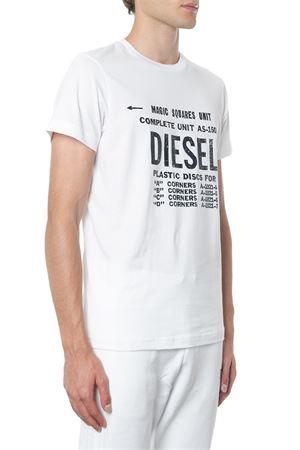 WHITE COTTON T SHIRT WITH LOGO PRINT FW 2019 DIESEL   16   00SXE60091AT-DIEGO100
