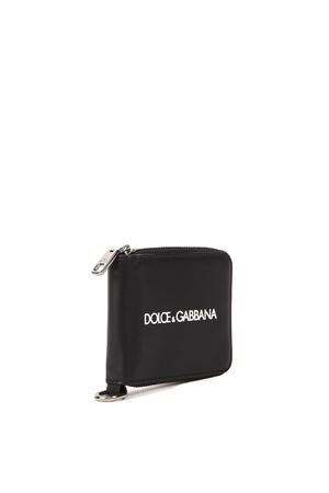 BLACK LEATHER WALLET WITH METAL CHAIN & LOGO FW 2019 DOLCE & GABBANA | 34 | BP2530AA062HNI43
