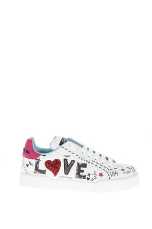WHITE SNEAKERS WITH GRAFFITI PRINT FW 2019 DOLCE & GABBANA | 55 | CK1545AU8868E057