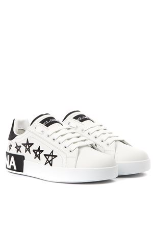 BLACK AND WHITE PORTOFINO SNEAKERS LEATHER WITH STARS AND LOGO PRINT FW 2019 DOLCE & GABBANA | 55 | CK1587AA898HWF57