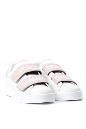 WHITE AND PINK LEATHER PORTOFINO SNEAKERS FW 2019 DOLCE & GABBANA | 55 | CK1601AH36187587