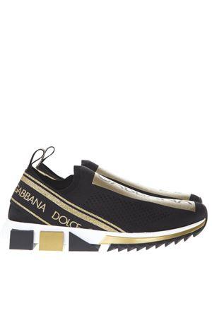 BLACK AND GOLD MESH SORRENTO SNEAKERS FW 2019 DOLCE & GABBANA   55   CS1595AZ28989718