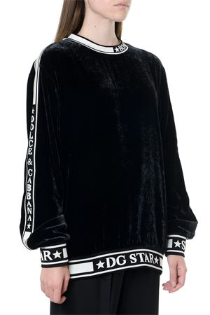 BLACK AND WHITE DG STAR SWEATER IN MIXED SILK FW 2019 DOLCE & GABBANA | 19 | F9G39TFUVJKN0000