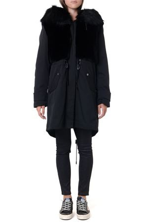 BLACK FAUX FUR & TECHNICAL FABRIC PARKA JACKET FW  DONDUP | 27 | DJ265PX0072XXX1999