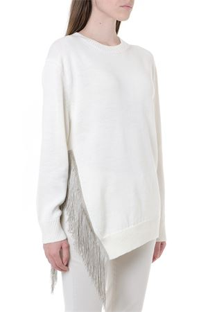 WHITE WOOL LUREX FRINGES MAXI SWEATER FW 2019 DONDUP | 16 | DM306M006750021003
