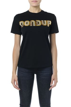 BLACK COTTON SEQUINS LOGO T-SHIRT FW 2019 DONDUP | 15 | S746JF0243DZ661999