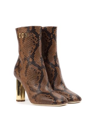 BROWN ICON ANKLE BOOTS IN SNAKE EFFECT LEATHER FW 2019 DSQUARED2 | 52 | ABW007517702195M580