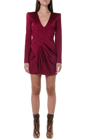 CHERRY COLOR SATIN V-NECKLINE DRESS