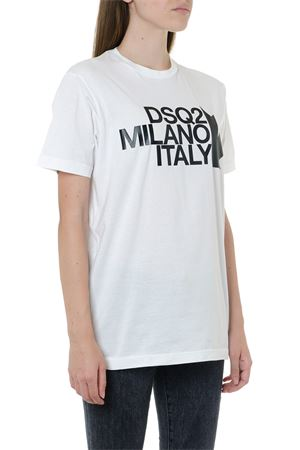 T-SHIRT DSQ2 MILANO BIANCA IN COTONE AI 2019 DSQUARED2 | 15 | S72GD0169S22427100