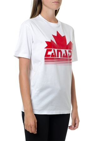 CANADA PRINT WHITE COTTON T-SHIRT FW 2019 DSQUARED2 | 15 | S72GD0174S22427100