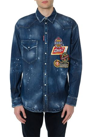 BLUE DENIM SHIRT WITH LOGO PATCHES FW 2019 DSQUARED2 | 9 | S74DM0267S30341470