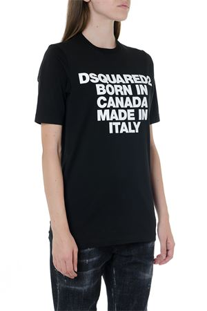 BORN IN CANADA BLACK COTTON T-SHIRT FW 2019 DSQUARED2 | 15 | S75GD0023S22427900