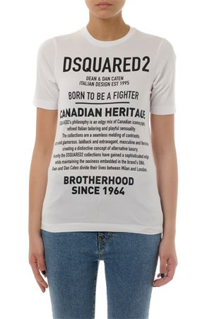WHITE COTTON LETTERING T-SHIRT FW 2019 DSQUARED2 | 15 | S75GD0033S22844100