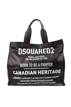BLACK CANADIAN HERITAGE LEATHER SHOPPING BAG FW 2019 DSQUARED2 | 2 | SPW002201500001M063