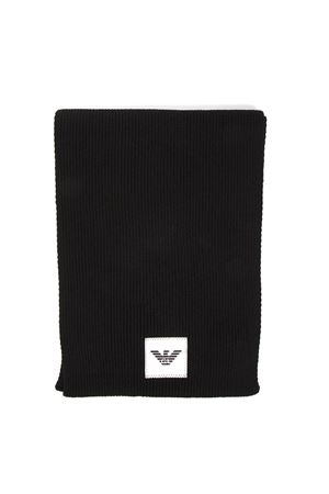 BLACK WOOL-CASHMERE BLEND LOGO PATCH SCARF FW 2019 EMPORIO ARMANI | 20 | 6G14061MC4Z0999