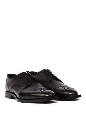 BLACK LEATHER DERBY SHOES WITH CALLIGRAPHY LOGO STYLE FW 2019 FENDI | 208 | 7L1263A8PDF1OS5