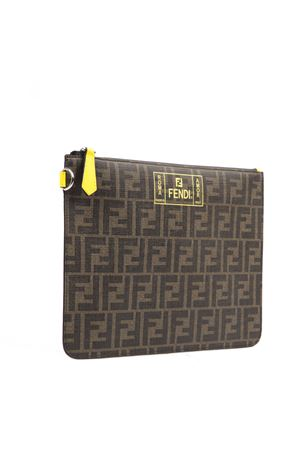 BROWN AND YELLOW CLUTCH WITH MONOGRAM AND LOGO FW 2019 FENDI | 5 | 7N0078A7SBF17HW