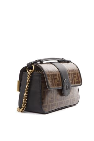 BORSA DOUBLE PICCOLA MARRONE IN PELLE E COTONE AI 2019 FENDI | 2 | 8BT308A5MPF153A