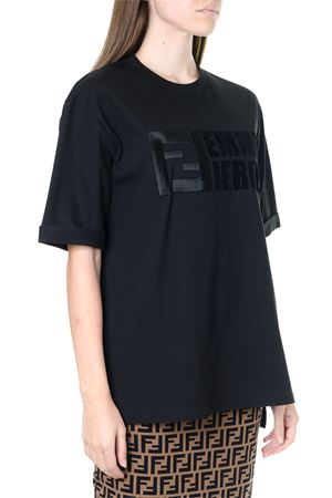 BLACK COTTON T SHIRT WITH LOGO FW 2019 FENDI | 15 | FS7011A7WBF0GME