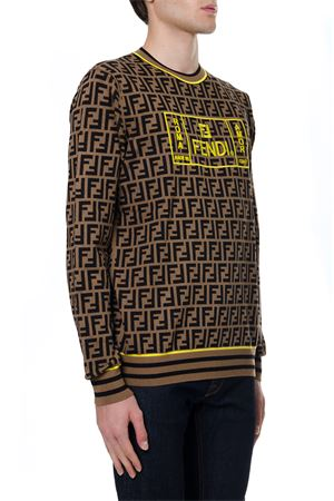 BROWN AND YELLOW SWEATER WITH MONOGRAM PRINT FW 2019 FENDI | 16 | FZZ481A8BJF0WF0