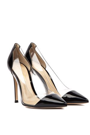 BLACK PATENT LEATHER AND PLEXIGLASS PUMPS FW 2019