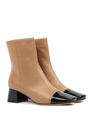BEIGE AND BLACK LEATHER ANKLE BOOTS FW 2019 GIANVITO ROSSI | 52 | G7363945RICVERNICE+NAPPA