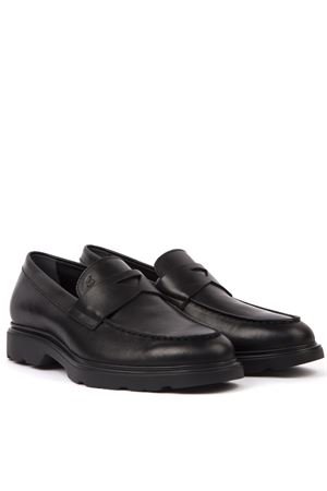 ROUTE BLACK LEATHER LOAFERS FW 2019 HOGAN | 130 | HXM3930X230LDVB999