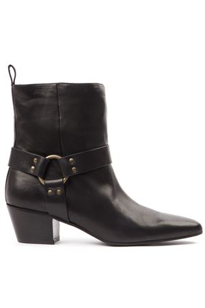 BLACK LEATHER BUCKLED ANKLE BOOTS FW 2019 MARC ELLIS | 52 | MA71SPORT NERO
