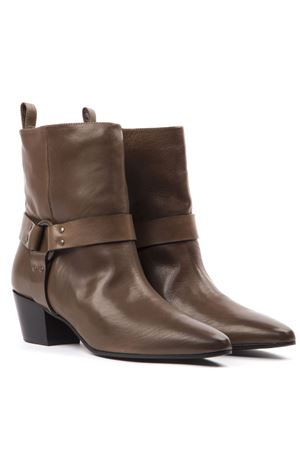 BROWN LEATHER BUCKLED ANKLE BOOTS FW 2019 MARC ELLIS | 52 | MA71SPORT TAUPE