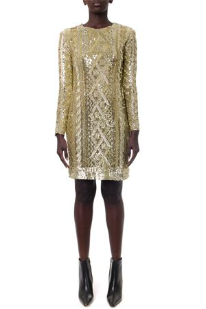 GOLD SEQUINED TECHNO JERSEY DRESS FW 2019 MAX MARA | 32 | NICIA176002