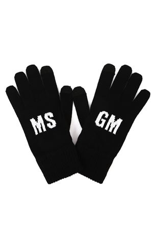 BLACK AND WHITE LOGO KNIT GLOVES FW 2019 MSGM | 110000028 | 2740MN0219557499