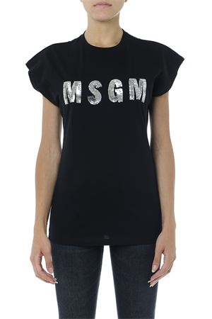 BLACK COTTON T SHIRT WITH SEQUINS LOGO FW 2019 MSGM | 15 | 2741MDM10919579799