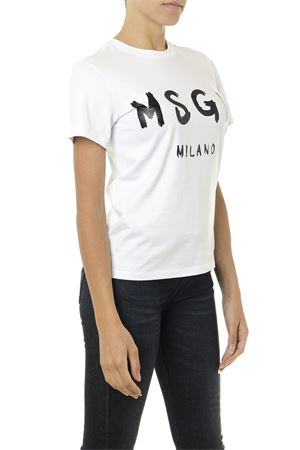 WHITE AND BLACK T SHIRT IN COTTON WITH LOGO PRINT FW 2019 MSGM | 15 | 2741MDM6019579701