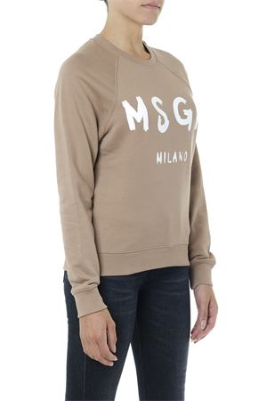 BEIGE COTTON SWEATER WITH LOGO PRINT FW 2019  MSGM | 19 | 2741MDM8919579923