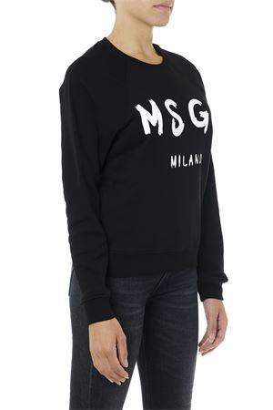BLACK COTTON SWEATER WITH LOGO PRINT FW 2019  MSGM | 19 | 2741MDM8919579999