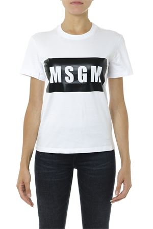 BLACK AND WHITE COTTON T SHIRT WITH LOGO PRINT FW 2019  MSGM | 15 | 2741MDM9519579701