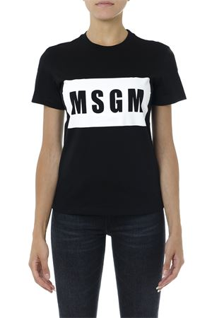BLACK AND WHITE COTTON T SHIRT WITH LOGO PRINT FW 2019  MSGM | 15 | 2741MDM9519579799