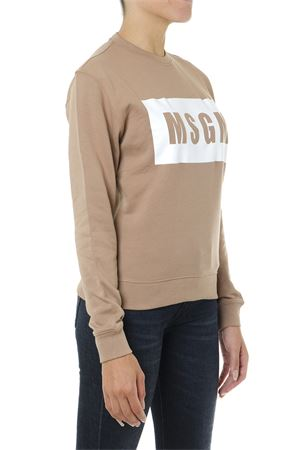 BEIGE AND WHITE COTTON SWEATSHIRT WITH LOGO PRINT FW 2019 MSGM | 19 | 2741MDM9619579923