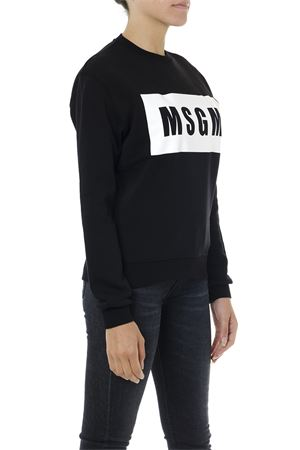 BLACK AND WHITE COTTON SWEATSHIRT WITH LOGO PRINT FW 2019 MSGM | 19 | 2741MDM9619579999