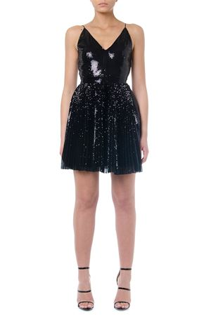 BLACK PLISSÉ SEQUINS MINI DRESS FW 2019 MSGM | 21 | 2743MDA26P19570299