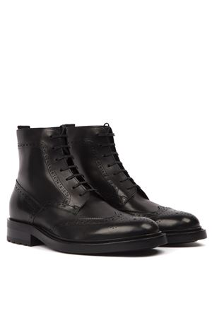 BLACK LEATHER LACED ANKLE BOOT FW 2019 SAINT LAURENT | 52 | 5874621G7001000