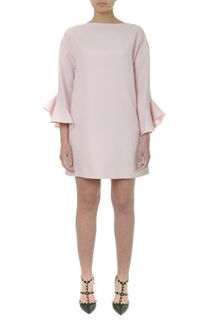 LIGHT PINK WOOL RUFFLED SHORT DRESS FW 2019 VALENTINO | 21 | SB3VANL11CFR13