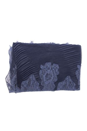 BLUE SCARFE WITH LACE INSERT FW 2019 VALENTINO | 20 | SW0EE379CTZ05D