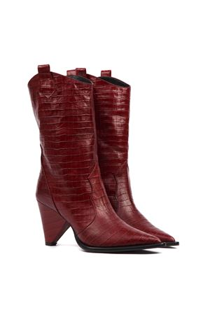 RED COCODRILE EFFECT LEATHER BOOT FW 2019 ALDO CASTAGNA | 52 | 119-DESICOCCOBORDO